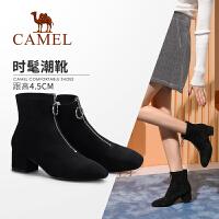 骆驼女鞋2019冬季新款时尚英伦风中跟短靴女优雅粗跟短筒靴子女
