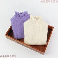 2018春秋女大童纯羊绒衫圣诞毛衣儿童宝宝针织加厚高领打底衫