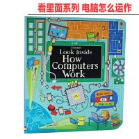 看里面系列 电脑运作原理 进口英文原版绘本 Look inside How Computers Work 纸板翻翻书