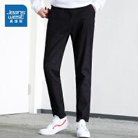 [秒杀价:62.9元,品牌秒杀仅限4.3]真维斯牛仔男秋装新款青少年黑色休闲潮流宽松时尚松紧腰长裤