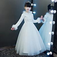 儿童公主裙女童婚纱蓬蓬长袖花童生日主持人演出服晚礼服冬季厚
