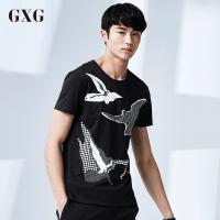 GXG短袖T恤男装 夏季气质男士时尚修身款个性潮流黑底白花短袖T恤