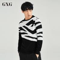 【GXG过年不打烊】GXG毛衫男装 秋季男士时尚气质舒适休闲青年都市潮流黑色圆领毛衫