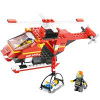 小鲁班 积木拼插玩具 急速火警 消防直升机  M38-B0218