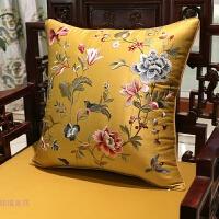 新中式刺绣花鸟靠枕红木沙发抱枕靠垫欧式床头靠背汽车腰靠包含芯 50X50cm (外套+内芯)