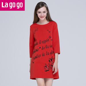 Lagogo新款红色休闲卫衣百搭上衣印花刺绣宽松连衣裙中长款女短裙