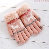 男童手套冬季加绒加厚5-8-10岁女童五指分指中大童小学生儿童手套