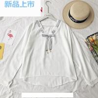 2018春季新款韩版白色衬衫宽松显瘦蝴蝶结色长袖雪纺衫女潮