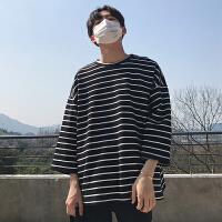 男士圆领T恤2018夏季条纹韩版个性潮男长袖上衣百搭打底衫男体恤