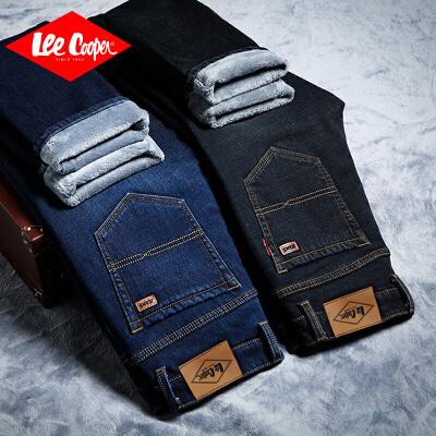 Lee Cooper加绒加厚男士时尚商务牛仔裤直筒纯色百搭长裤舒适潮流 加绒加厚男士时尚商务牛仔裤