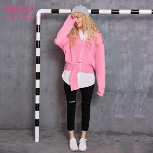 妖精的口袋Y冬装新款纯色百搭保暖长袖短款套头毛衣女749068