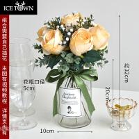 北欧玫瑰仿真花束 塑料假花瓶茶几装饰花艺餐桌摆件客厅小清新 蜜瓜色组合( 含透明瓶)