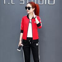 2018新款时尚韩版修身跑步运动服卫衣三件套潮休闲运动套装女春秋