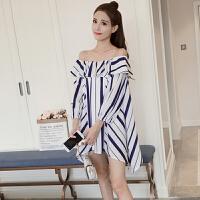 韩版个性夏季七分袖一字肩条纹衬衫裙中长款宽松灯笼袖露肩上衣