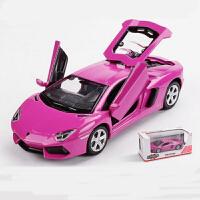 仿真兰博跑车合金车模 儿童玩具声光回力小汽车模型男孩礼物