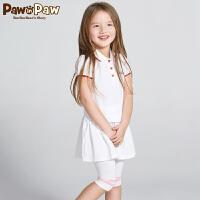 【3件3折 到手价:179】Pawinpaw卡通小熊童装夏款女童翻领短袖运动风连衣裙
