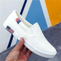 夏季男士一脚蹬帆布鞋低帮学生潮流运动布鞋防臭透气懒人休闲鞋子