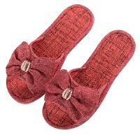 棉麻拖鞋女秋冬季居家亚麻家居软底平跟厚底防滑室内凉拖鞋女夏天