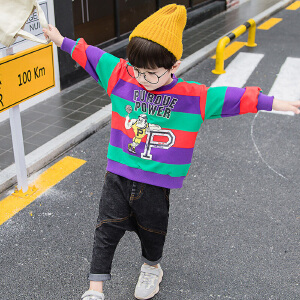 乌龟先森 卫衣 男童长袖圆领卡通条纹套头衫秋季新款韩版儿童时尚休闲舒适百搭中小童T恤