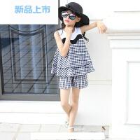 女童套装夏装两件套中大童韩版格子套装女儿童运动套装童装女夏