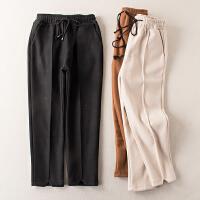 冬季新款松紧绑带高腰显瘦双口袋毛呢休闲裤