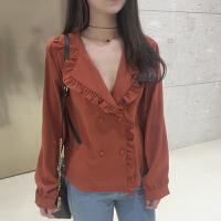 韩版简约chic学生女装春装新款复古V领纯色木耳边长袖打底衬衫女