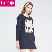Lagogo/拉谷谷冬季新款舒适印花圆领长袖连衣裙 EDB931G615