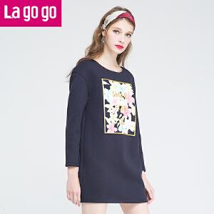 lagogo新款舒适碎花宽松长袖印花连衣裙女秋冬中长款韩版裙子