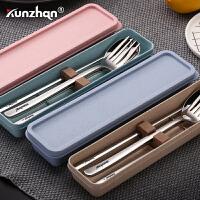 304不锈钢便携餐具三件套筷子套装勺子创意学生叉儿童旅行盒