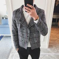 新款小码秋冬男装码韩版修身短款风衣矮个子格子呢大衣外套