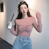慈姑简约纯色显瘦长袖针织打底衫上衣女秋季韩版长袖T恤配外搭裹胸潮 均码