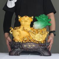 绒沙金猪摆件树脂工艺品银行保险公司礼品家居客厅电视柜装饰品