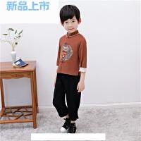 中国风儿童唐装男童套装春秋薄款男孩中式礼服宝宝民国风棉麻童装