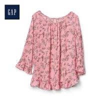 Gap官方旗舰店 女装 舒适柔软花卉荷叶边上衣 228899