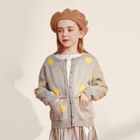 【大牌日3件2折:70】巴拉巴拉旗下巴帝巴帝毛衫2019年秋新品女童中大童甜趣波点开衫外套