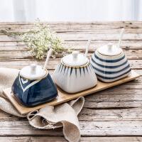 日式厨房用品调味罐套装陶瓷家用盐罐调料盒辣椒油罐调味盒