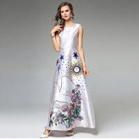 新款欧美女装斜纹布定位印花裙拼接性感蕾丝上衣中袖超大摆裙