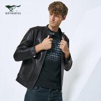 七匹狼皮衣 17冬季青年男士时尚休闲短款绵羊皮夹克真皮皮衣外套