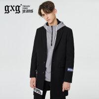 gxg.jeans男装秋冬新品印花中长款羊毛呢长大衣潮#64626185