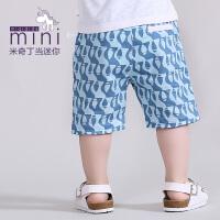 米奇丁当迷你幼童夏季新款时尚拼色条纹短裤男童裤子