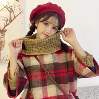 秋冬女装新款韩版毛呢复古格子学生上衣假两件斗篷毛衣外套九分袖