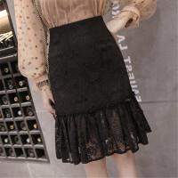 2018春季新款半身裙短款高腰大码修身性感蕾丝镂空褶皱鱼尾包臀裙 黑色