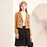 冬装新品双排扣短款羊毛西装修身双面呢大衣S640257D20