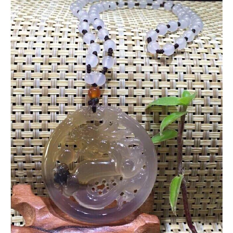 天然黄紫玉髓镂空雕古龙,带草花,配项链 【BFO171】