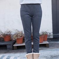 冬季加厚加绒运动裤女小脚直筒休闲长裤抓绒卫裤显瘦女式外穿棉裤