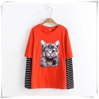 加肥加大码春款条纹长袖拼接T恤韩版圆领猫咪贴布假两件打底衫