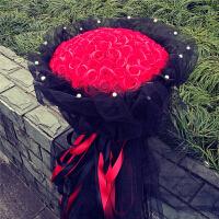 情人节礼物香皂花 99朵红珍珠黑纱玫瑰花束生日礼物创意