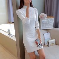 女士打底衫长袖中长款2018新款秋冬修身显瘦针织衫毛衣裙子半高领 均码80-130斤