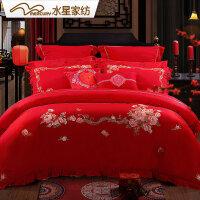 【6.7大牌日 1件5折】水星家纺 婚庆四件套结婚床上用品纯棉被套床单四件套臻爱永恒
