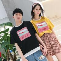 2018新款情侣装夏装短袖T恤韩版字母印花拼接学生原宿宽松百搭